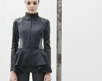 Wool Peplum Jacket with leather sleeves and stretch elements. Peplum jacket. Wool Leather jacket. Peplum blazer. Wool blazer. Woman jacket