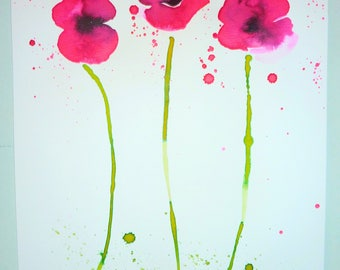 Poppies Three Original Ink Art on Watercolour Paper A3