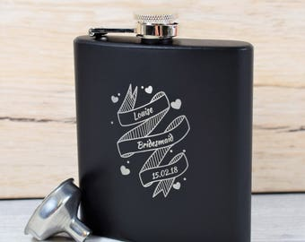 Modern, Engraved Bridesmaid Black Wedding Hip Flask - Bridesmaid Gifts, Maid of Honour, Girly Hip Flasks, Modern Hip Flasks, Heart Hip Flask