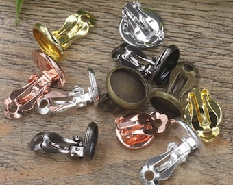 50 Brass Clip-on Earring Bronze/ Silver/ Gold/ Rose Gold/ White Gold/ Gunmetal Plated 10mm/ 12mm/ 14mm/ 16mm/ 18mm Round Bezel Cup