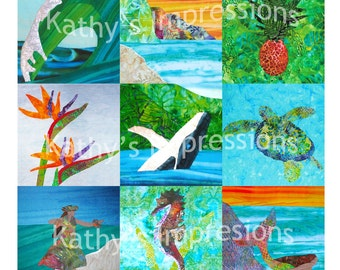 Choice of (12) HAWAII ANA QUILT Batik Tropical Art Applique Patterns