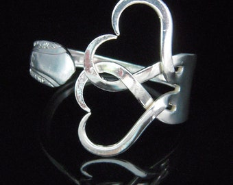 Fork Bracelet in Intertwining Hearts Design Number Two