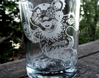 Grateful Dead Bear Hand Etched Candle Votive