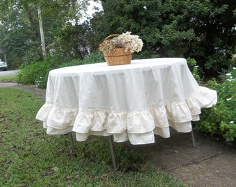 "Multi Ruffle Tablecloth 72"" Handmade Ruffled Tablecloth Cotton Double Ruffle Table Cloth Wedding Decorations Table Decor Ready to Ship"