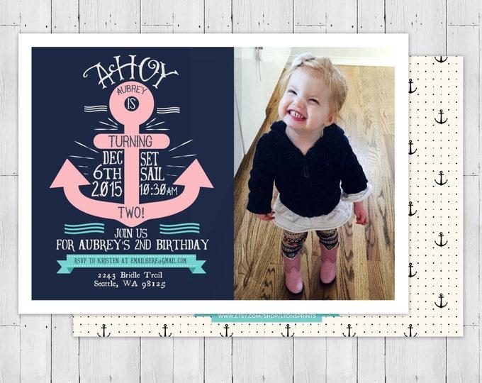 Nautical birthday Invitation - Ahoy, anchor, Sailboat Invitation-Nautical Preppy Invitation-Nautical Invite- ocean, girl and boy twins