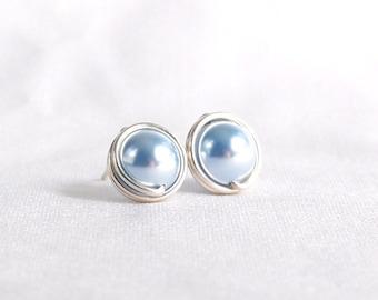 Light Blue Swarovski Pearl Stud Earrings, Hypoallergenic Ear Post, Wire Wrapped Jewelry