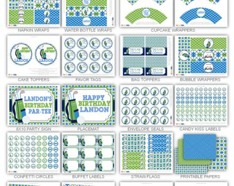 Golf Birthday Party Printables Package Personalized Printable Decorations & Kits Design No. 475