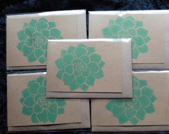 Green Succulent - 5 x Hand printed Cards