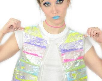 Liquid Glitter Puffer Vest - Rainbow