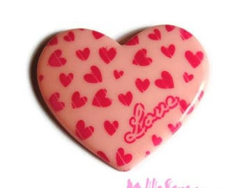 Large light pink heart LOVE resin embellishment scrapbooking X 1 *.