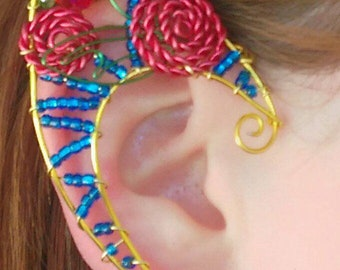 Beauty and the Beast Inspired/ Rose Ear Cuff Set/ wire bead ear cuff