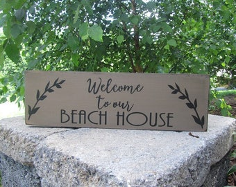 Welcome To Our Beach House sign, wood sign, beach house sign, coastal living, beach decor, vacation home decor, porch sign, Beach Welcome