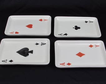 Vintage Snack Trays - Ceramic Dish - Plate- Bowl - Retro Deck of Playing Card Aces - Hearts - Spades - Diamonds - Clubs - Mad Men Bar Ware