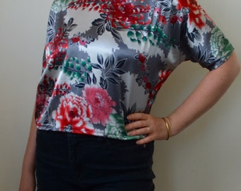 Handmade slouchy top from vintage silky asian-inspired floral pattern- S/M