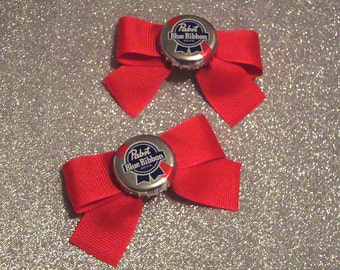 Pabst Blue Ribbon PBR Beer Rockabilly Bottlecap Bow Barrettes
