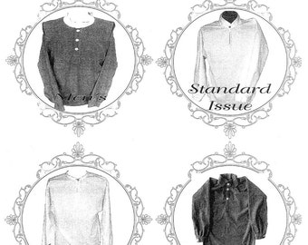 Civilian & Military Standard Issue / Basic Shirt 1800s-1900 era for Men and Boys - Timeless Stitches Sewing Pattern # 710