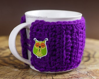 Cute Owl Button Crochet Mug Cozy, Crochet Mug Cozy, Mug Cosy (more colours available)