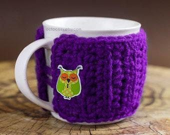 Jolie chouette bouton Crochet Mug cosy, Crochet Mug cosy, Mug Cosy (plus de couleurs disponibles)