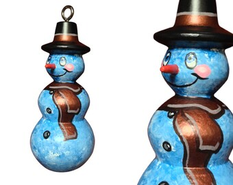 Blue Snowman w. bronze scarf Christmas Ornament