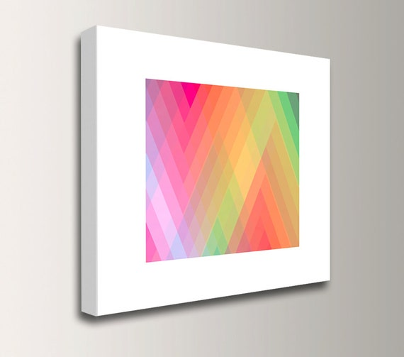 "Bright Wall Art - Pink and Lime Green Wall Decor - Zig Zag Stripe Canvas Print - ""Spectrum 4"""