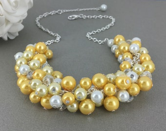 Maid of Honor Gift Bridesmaid Gift Shades of Yellow Necklace Pearl Necklace Gift for Her Wedding Jewelry Gift on a Budget Statement Neckalce