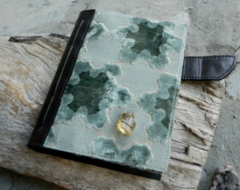 Handbound Leather Journal with Velvet Fabric and Natural Amber Detailing Funky Diary