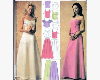 UNCUT Sewing Pattern Eight Different Styles Formal Two-Piece Dress Bridesmaid or Prom Size 6-12 Bust 30.5-34 (77-87 cm) McCalls 3863 G