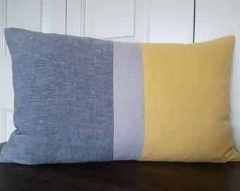 Yellow  Color Block Striped Pillow Covers Decorative Throw Pillow Cushion Covers Accent Pillows Colorblock Pillow Covers Linen Pillow Covers
