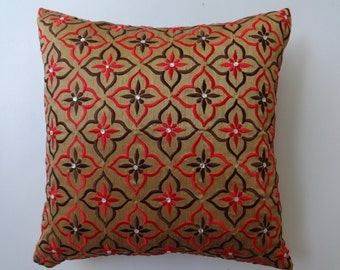 Honey Gold Pillow cover with Red brown embroidery.  art silk decorative pillow. festive  pillow. custom made 18inch