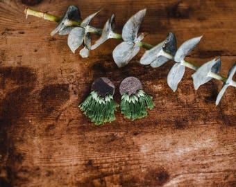 Light Weight Wood Earrings | Green Tassel Boho Earrings | Gift for Sister Wood Jewelry | Date Night Earrings | Statement Dangle Earrings