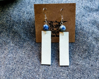 Leather Bar Earrings - Repurposed Leather Earrings - Jasper and Leather Drop Earrings - Blue Jasper Earrings - Real Leather Earrings