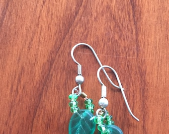 Green Leaf Beaded Earrings