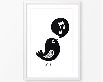 Baby poster,baby printable,kids poster,black and white,monochromatic,nursery poster,kids room decor,children wall art,bird illustration