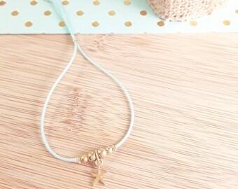 Adjustable light blue nylon cord Beads Bracelet gold plated brass end zamak sea star - adjustable summer bracelet - tropical look