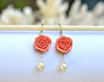 Coral Rose Earrings, Coral Flower Earrings, Summer Earrings, Bridesmaid Earrings, Bridal Jewelry