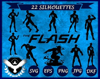 22 Flash Silhouette | Flash Svg | Flash Clipart | Flash Print | Flash Decoration | Flash Decal | Superhero Silhouette | Superhero Svg
