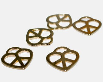 Set of 5 Zamak gold plated peace heart