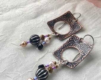 Square Dangle Earrings - Copper Earrings - Nickle Free Earwire
