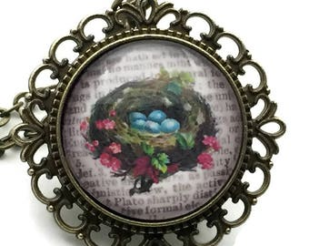 Bird nest necklace - Robin egg necklace - 18 inch  - Vintage style pendant necklace - Gift for women