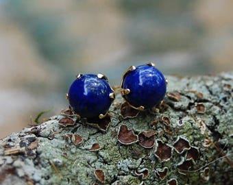 Marie-Anne - lapis lazuli stud earrings, lapis lazuli gemstone, gold stud earrings, lapis lazuli jewelry, gift idea, jewelry, royal blue