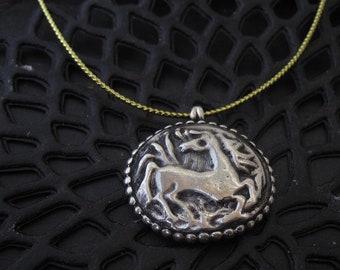 unique solid Silver Wild Horse pendant