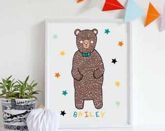 Bear Print - Nursery Bear Art - Bear wall art - Childrens wall art- Nursery wall art - Bear art - Bear Print - Bear decor - Bear nursery