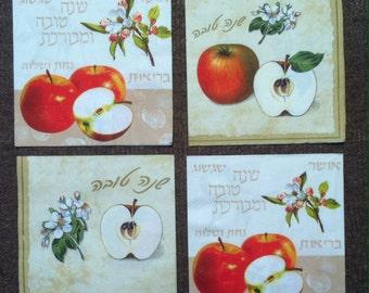 PN-104. Fruit Apple Set of 4 Paper Napkins Collectibles Scrapbooking Napkins for decoupage Decoupage Set