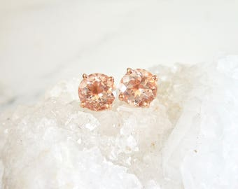 Morganite Earrings - Stud Earrings, Diamond Halo, 14kt Rose Gold, Peachy Pink Morganite, Diamond Alternative, Custom Made, Pink Gemstone