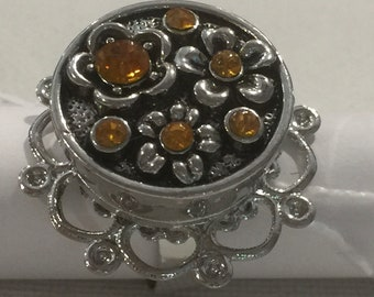 RING flower rhinestone flower engraved Orange