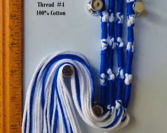 Tzitzit,Tassles, Braided loop, Dazzle Blue & White, Judaica/Messianic Fringes