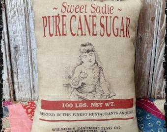 Handmade Primitive Cane Sugar Feedsack Style Pillow or Panel #52