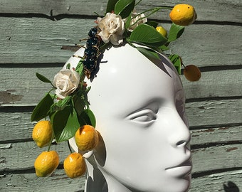 Lemon flower crown jewelled caterpillar headband