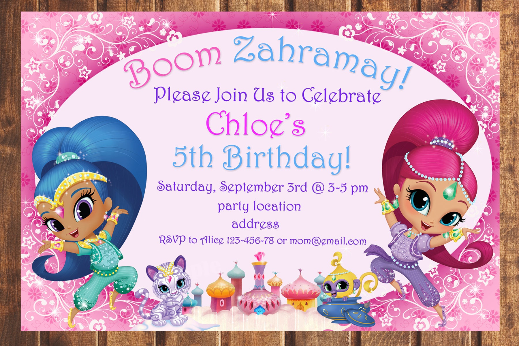 Sale shimmer and shine birthday invitationshimmer and shine zoom stopboris Images