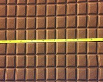 """NEW Chocolate Bars on cotton lycra knit fabric 95/5 58"""" wide."""